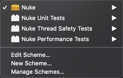 Xcode screenshot with multiple schemes