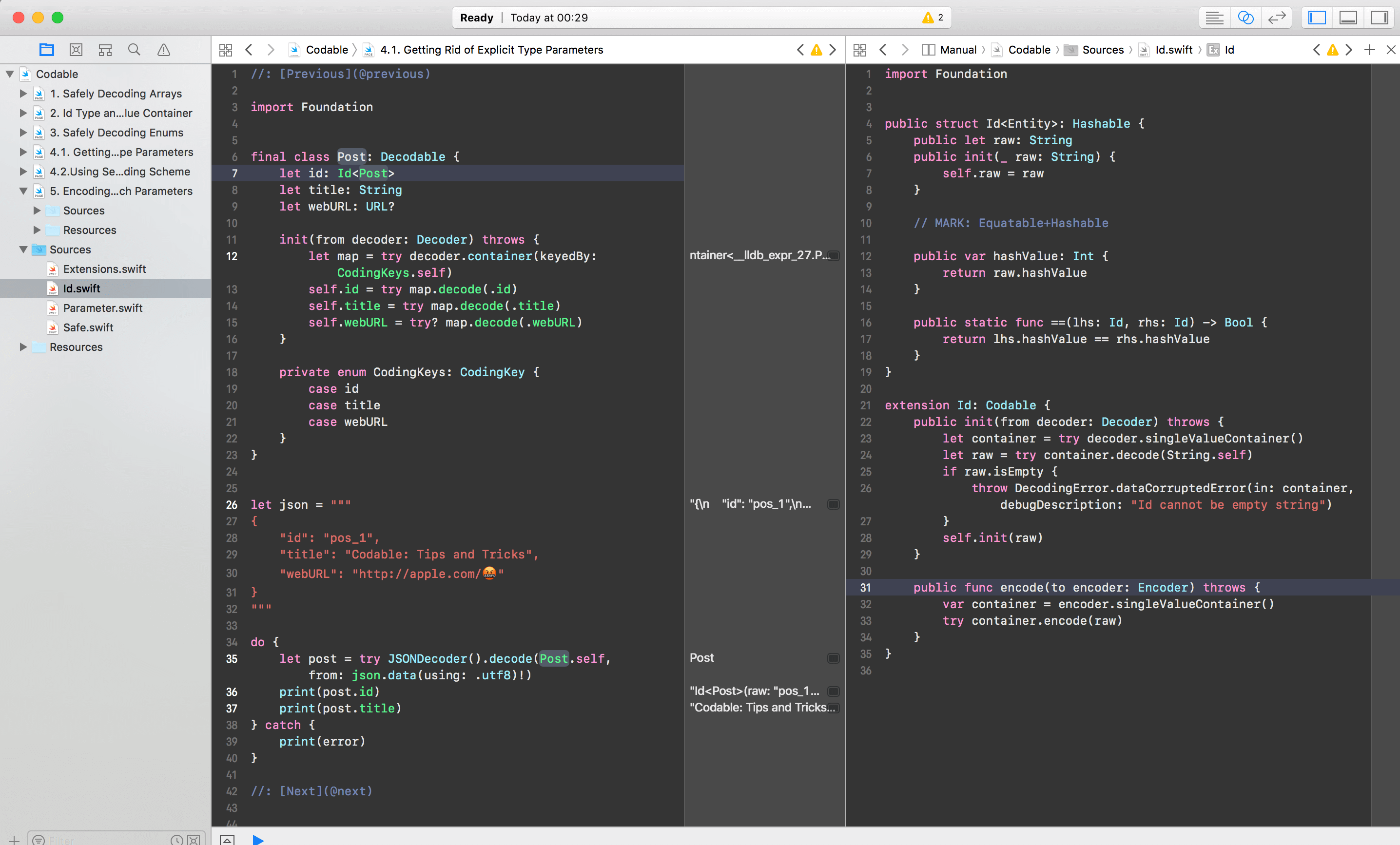 Xcode screenshot showing Codable example