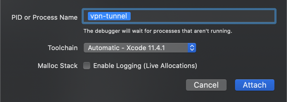 Xcode: attaching debugger to the running process